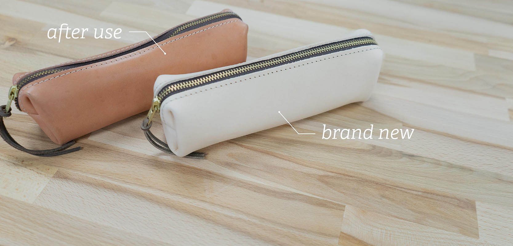 Natural Rustico leather veg tanned
