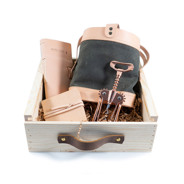 Leather Wine Log + Tote Gift Set