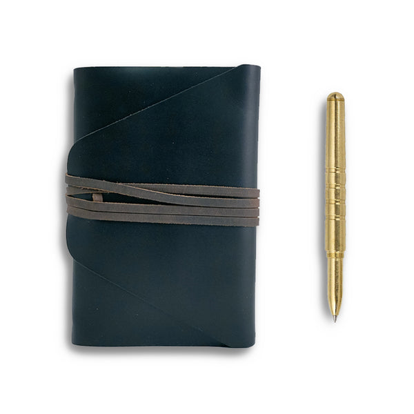 Messenger Leather Journal + Brass Pen Gift Set
