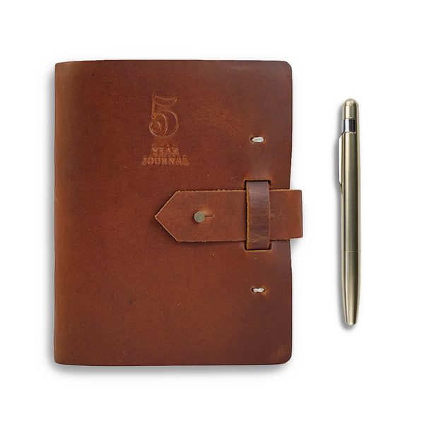 Five Year Leather Journal + Brass Pen Gift Set