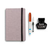 Linen Idea Notebook + Pen Gift Set - Graphite / Retro Block