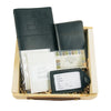 Leather Travel Journal, Luggage Tag, and Passport Cover Gift Set - Black