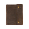 Writers Log Large Leather Notebook - Snap Closure - Dark Brown