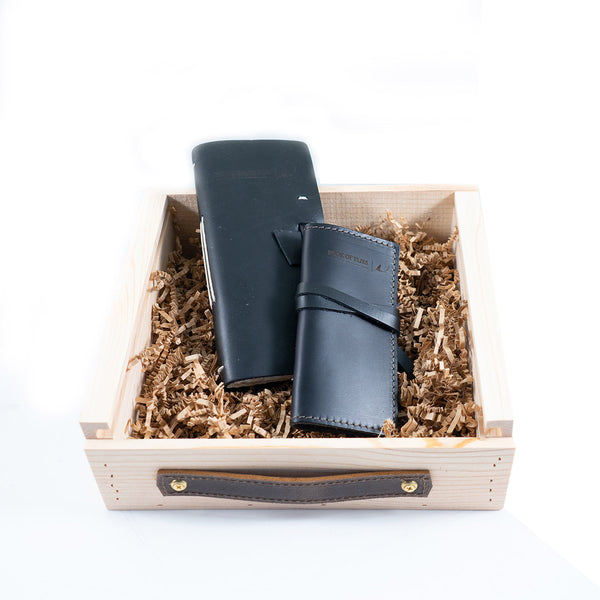 Leather Fly Fishing Log Gift Set
