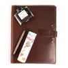 Leather Padfolio + Fountain Pen Gift Set - Burgundy