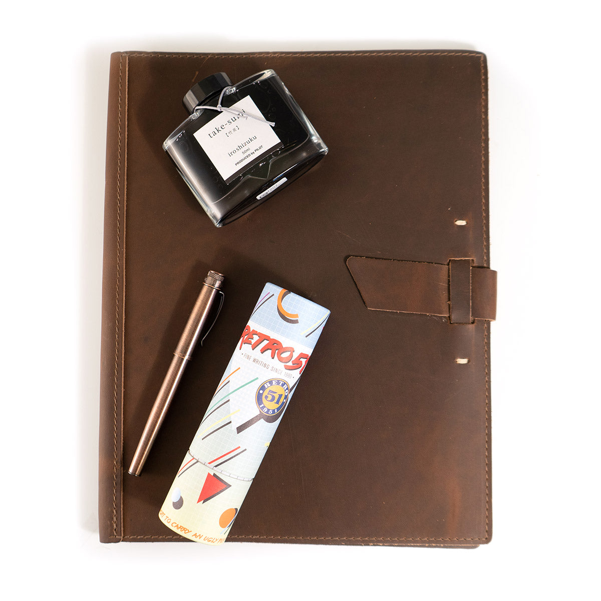 Leather Padfolio + Fountain Pen Gift Set