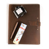 Leather Padfolio + Fountain Pen Gift Set - Dark Brown