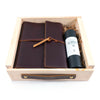 Writer's Log Leather Refillable Notebook + Pen Gift Set - Burgundy / Antique Copper