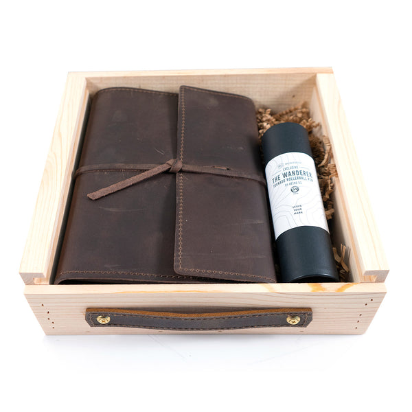 Writer's Log Leather Refillable Notebook + Pen Gift Set