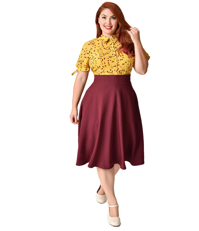 1a603cb7ab09e Unique Vintage Plus Size Retro Style High Waist Vivien Swing Skirt -  Dressed4theking.com