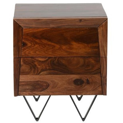 Matrix Bedside Table - Sheesham Rosewood