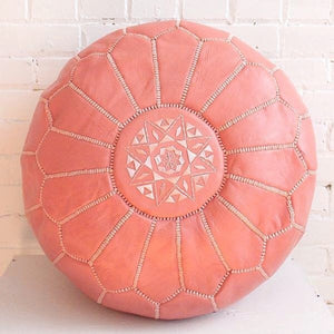 Dyed Coral Moroccan Pouf