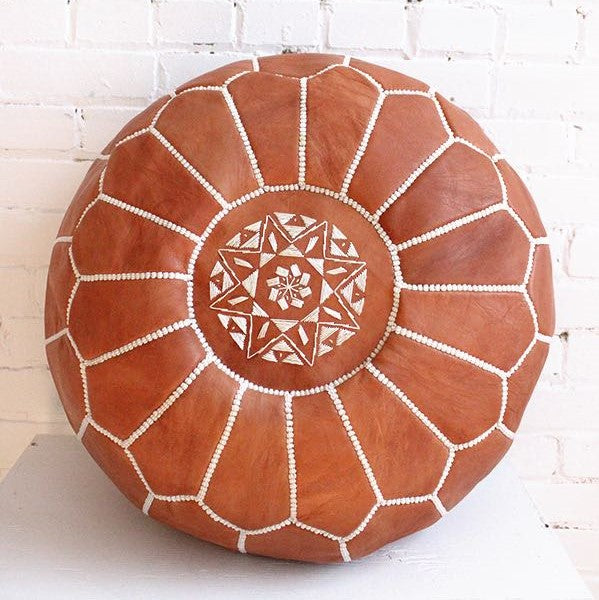 Natural Tanned Brown Moroccan Pouf