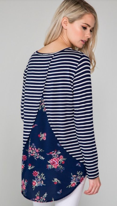 Floral and Stripe Layered Top