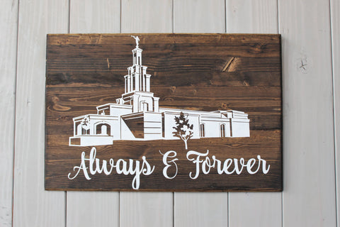 Always and Forever LDS Temple wall hanging - Temple sign - Temple wedding sign - LDS Temple wall hanging - temple wedding - anniversary gift