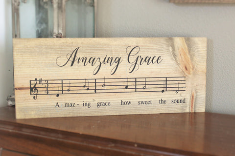 Amazing grace wood sign - Hymn wall art - Hymn sign - Amazing grace wall art - Religious wall art - Religious sign - Scripture sign