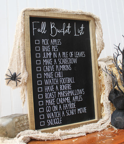 Fall bucket list farmhouse wood sign - Modern farmhouse fall decor