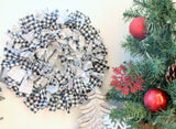 Black and white small buffalo check rag wreath - Farmhouse rag wreath - Black and white plaid rag wreath - Holiday front door decor