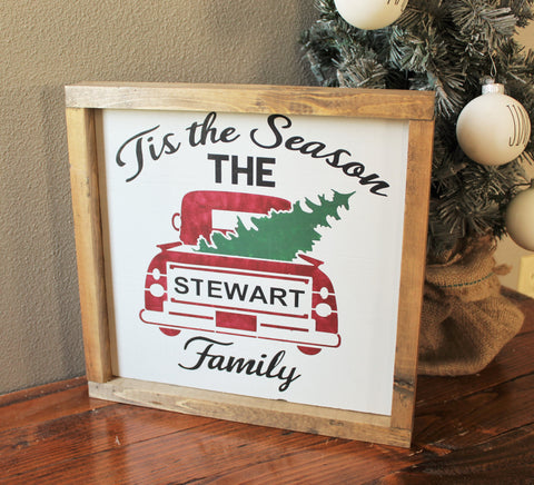 Personalized farmhouse Christmas wood sign - Personalized red truck with Christmas tree decor