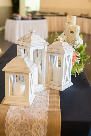 Set of 3 rustic wooden lanterns - Lantern wedding centerpiece