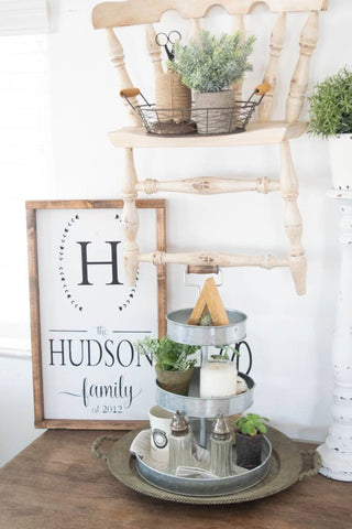 Personalized family name sign - Farmhouse home decor sign