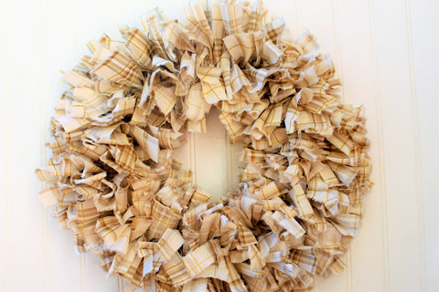 Harvest rag wreath - Harvest decor - Harvest wreath for front door - Fall wreath for front door - Fall porch decor - Fall rag wreath