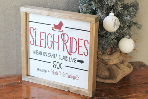 Sleigh ride wood sign - Vintage Christmas decor - Farmhouse Christmas entryway