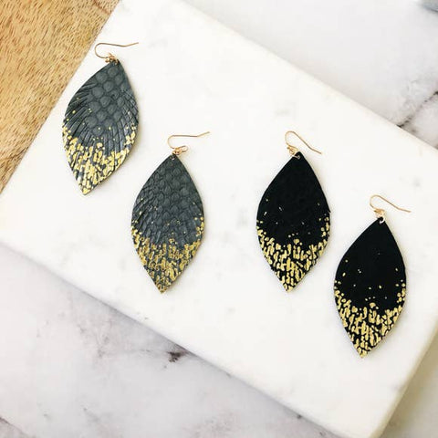 Feather Gold Dipped Leather Dangle Earrings