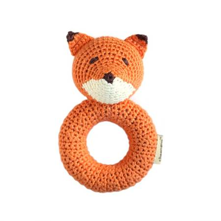 Fox- Ring Hand Crocheted Rattle