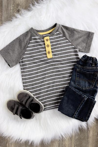 Jake Short Sleeve Striped Henley (Size 3T)