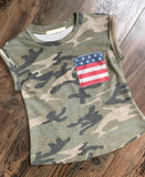 Kids Red, White & Camo Patriotic Tee