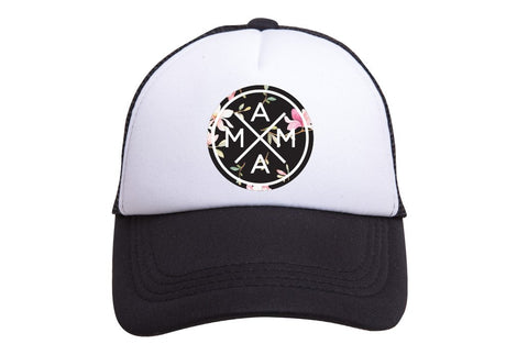 Mama X Trucker Hat- Black Floral