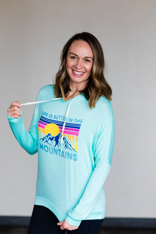 Life is Better in the Mountain Women's Hoodie in Mint