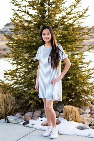 Becca Striped T Shirt Dress (Girls 7-14)