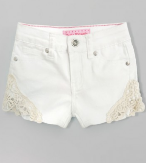 Girls Crochet Cut Out Shorts in White