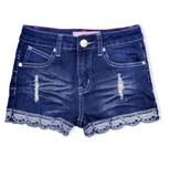 Denim Shorts with Embroidered Trim