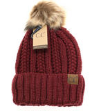 Teen/Women's Fuzzy Lined Pom Beanies (Multiple Colors)