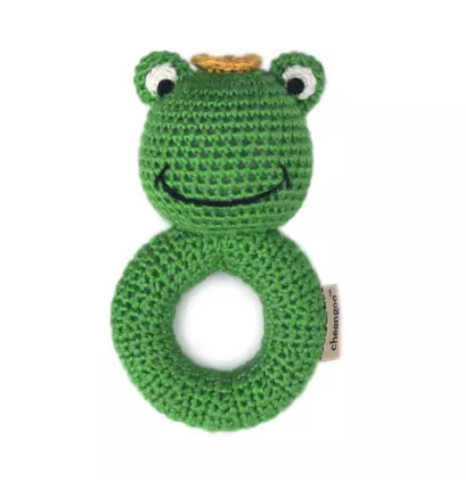 Frog Prince - Ring Hand Crocheted Rattle