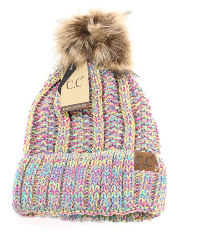 Teen/Women's 2 Tone Fuzzy Lined Beanies (Multiple Colors)