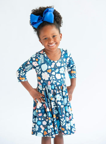 Blue Fall Floral 3/4 Sleeve Twirl Dress