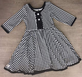 Black Houndstooth 3/4 Sleeve Dress