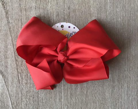 "Red 8"" Hair Bow Clip"
