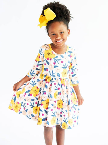 Yellow Poppy 3/4 Sleeve Twirl Dress