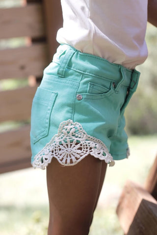 Girls Crochet Cut Out Shorts in Mint