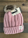Kids Fuzzy Lined Pom Beanies (Multiple Colors)