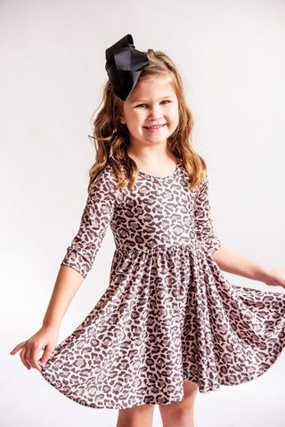 Leopard 3/4 Sleeve Twirl Dress
