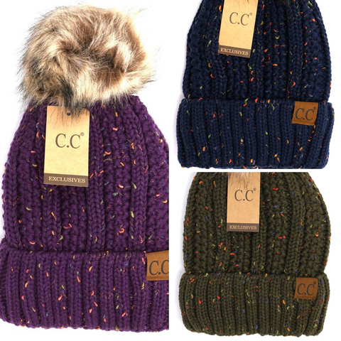 Teen/Women's Fuzzy Lined Flecked Fur Pom Beanie