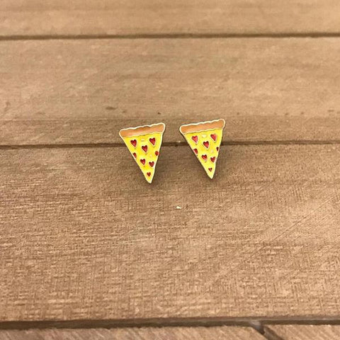 Heart Shape Pepperoni Pizza Earrings