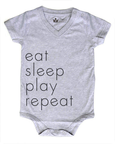 Eat Sleep Play Repeat Gray V-Neck Bodysuit