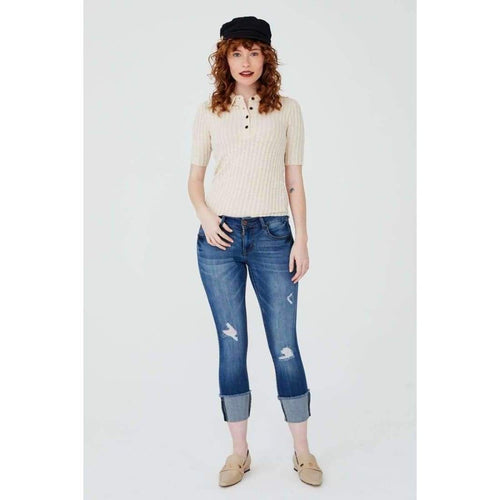 1822 Denim Ladies Taylor Destructed Roll Cuff Crop Skinny Jeans In Gerard Jeans